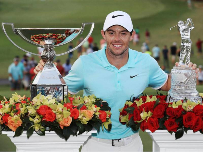 Rory McIlroy with the 2016 Tour Championship and FedEx Cup titles